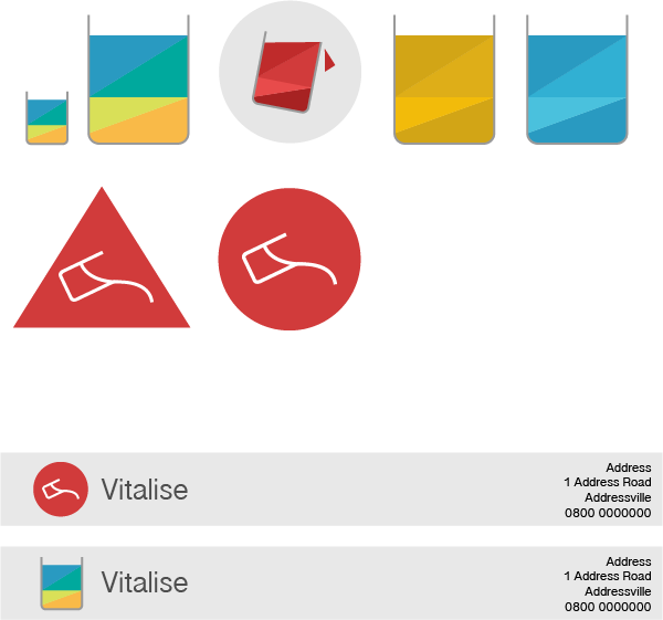 Initial Vitalise logo ideas.