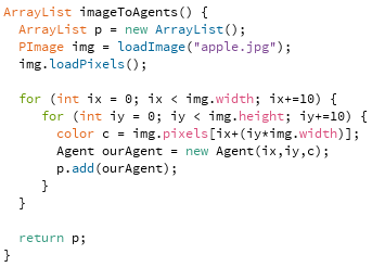 The imageToAgents function.