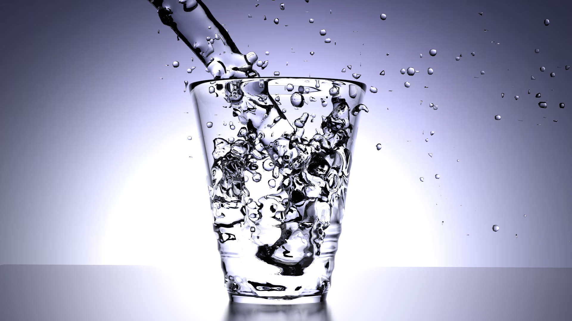 The final rendered image of water puring into a glass